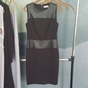Calvin Klein Black Dress with Faux Leather Accents